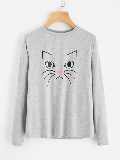 Heather Knit Cat Print Raglan Sleeve Tee