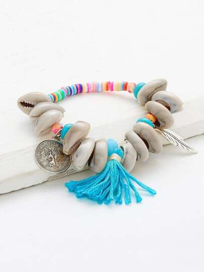 Shell & Tassel Decorated Beaded Bracelet