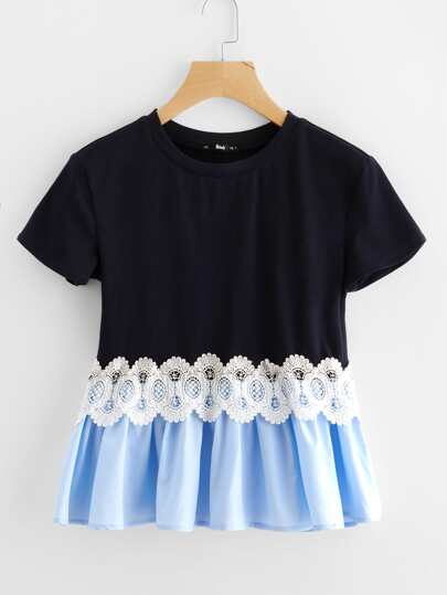 Lace Applique Mixed Media Smock Tee