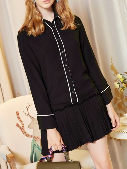 Collar Color Block Pleated Dress