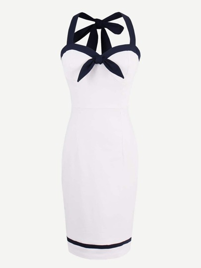 Contrast Trim Tie Detail Halter Strap Circle Dress