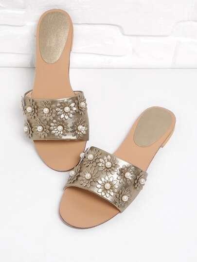 Sandalias planas de PU con decoración de perla artificial