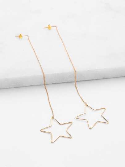 Hollow Star Design Drop Earrings