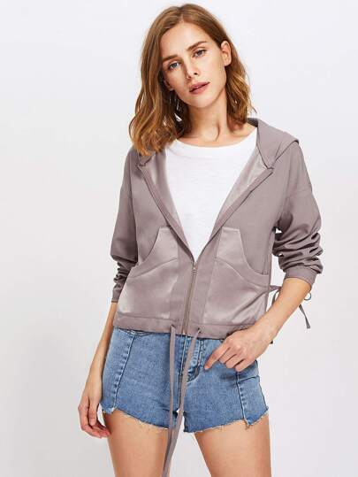 Drawstring Cuff And Hem Hooded Jacket
