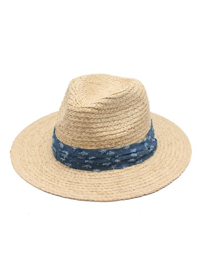 Contrast Denim Band Straw Fedora Hat