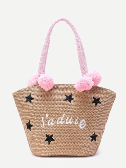 Star Embroidery Straw Tote Bag With Pom Pom