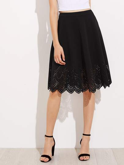 Laser Cut Scallop Hem Swing Skirt