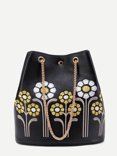 Flower Embroidery PU Shoulder Bag