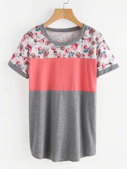 Tee-shirt contrasté imprimé fleuri
