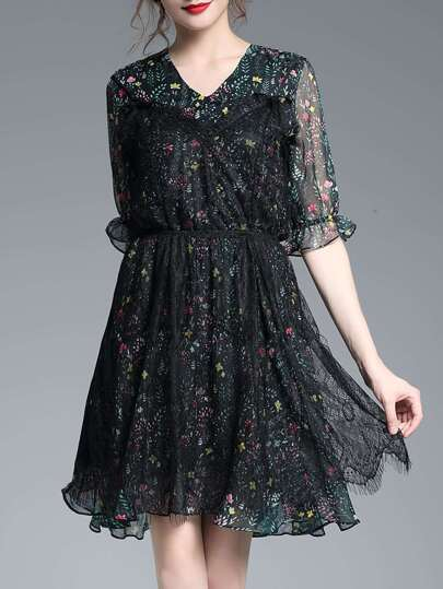 V Neck Contrast Lace Floral Dress