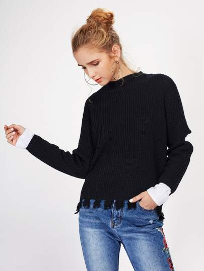 Open Elbow Raw Hem Jumper