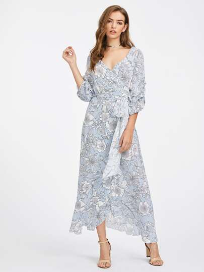 Gathered Sleeve Mixed Print Surplice Wrap Dress
