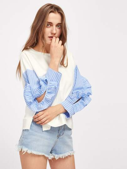 Frilled Split Sleeve Detail Mixed Media Sweatshirt