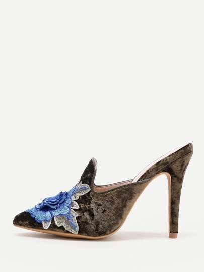 Flower Embellished Stiletto Mules