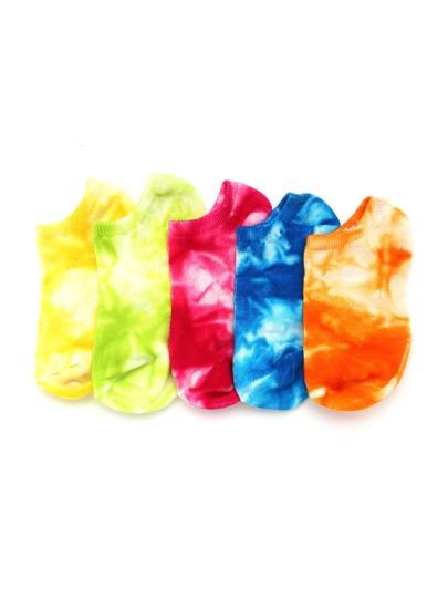 Calcetines invisibles con efecto teñido anudado 5 pares