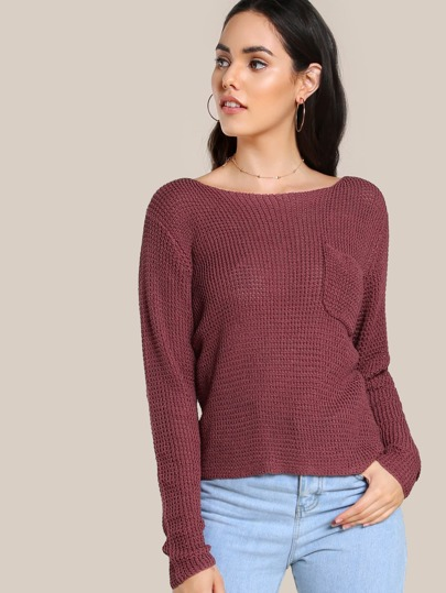 Knitted Long Sleeve Pocket Top RUST