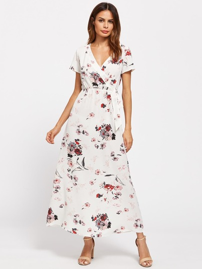 Surplice Neckline Random Florals Chiffon Dress