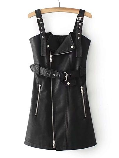 PU Kleid mit Reißverschluss und Gürtel