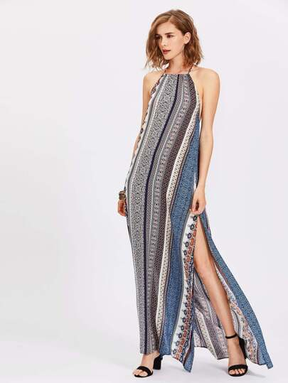 Backless Slit Side Ornate Print Halter Dress