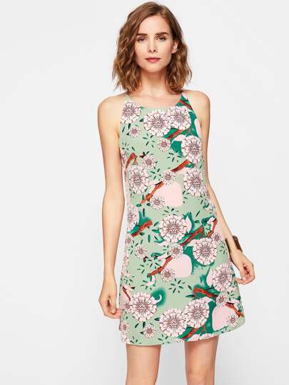 All Over Florals Curved Hem Dress
