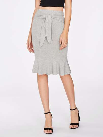 Tie Front Ruffle Hem Heather Knit Skirt