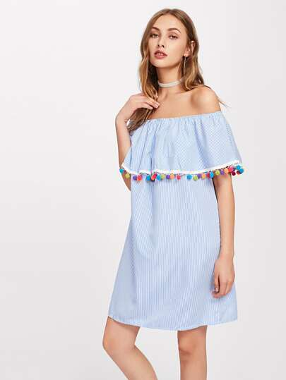 Flounce Layered Neckline Stripe Pom Pom Trim Dress