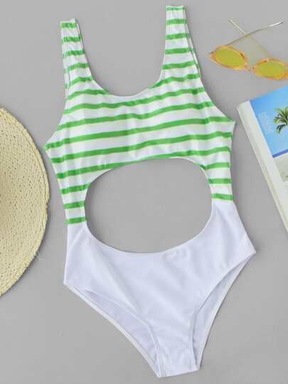Striped Print Cutout Scoop Neck Swimsuit