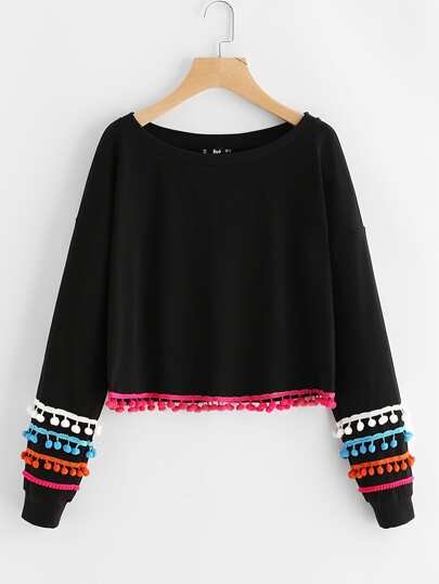 Colorful Pom Pom Lace Trim Pullover