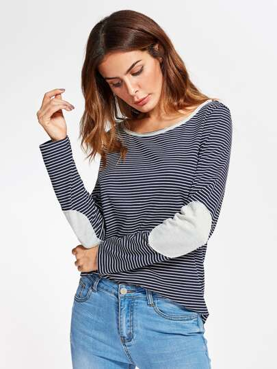 Contrast Panel And Elbow Patch Striped Tee