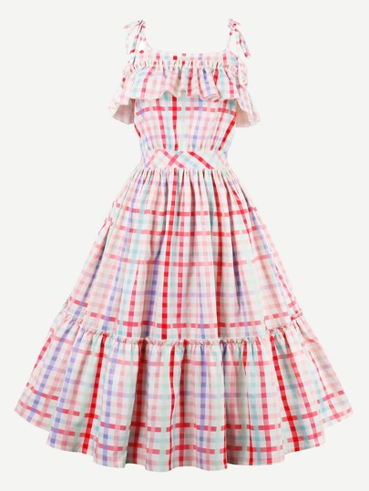 Rainbow Gingham Tie-Strap Frill Trim Circle Dress