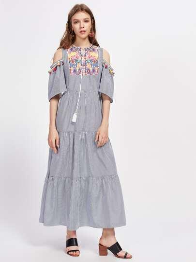 Tribal Embroidered Detail Pinstripe Fringe Dress