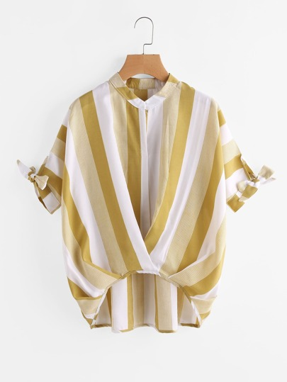 Contrast Striped Tie Cuff Dip Hem Blouse