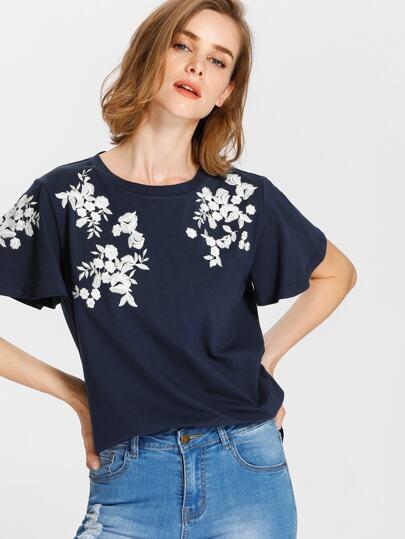T-Shirt mit Blumen Stickereien und Flatterndehülse