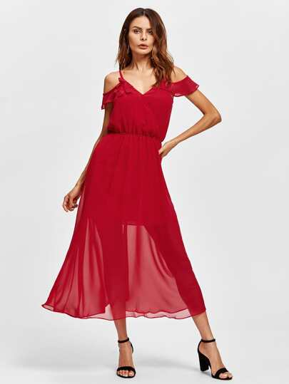 Frill Trim Open Back Surplice Dress