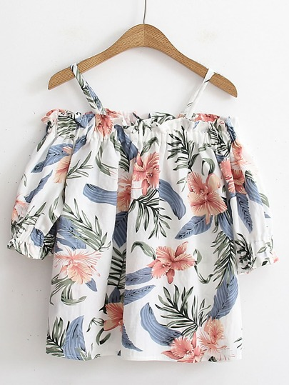 Schulterfreie Bluse mit Blumenmuster