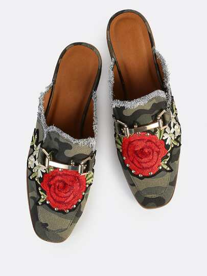 Camouflage Print Embroidered Loafer Slides CAMOFLAUGE