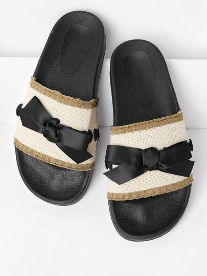 Bow Tie Detail Knit Slip On Sandals
