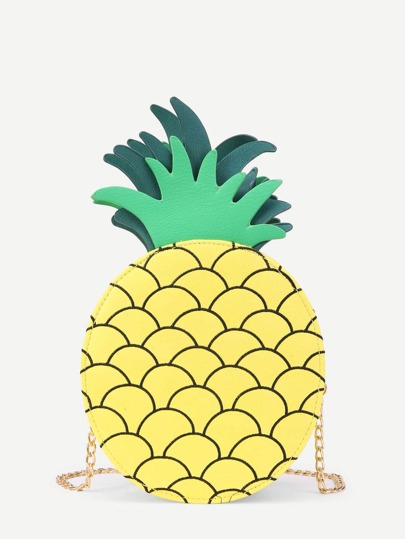 Pineapple Design Round PU Chain Bag
