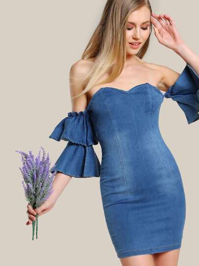 Bardot Sleeve Bodycon Denim Dress DENIM