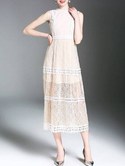 Crochet Hollow Out Sheer Lace Dress