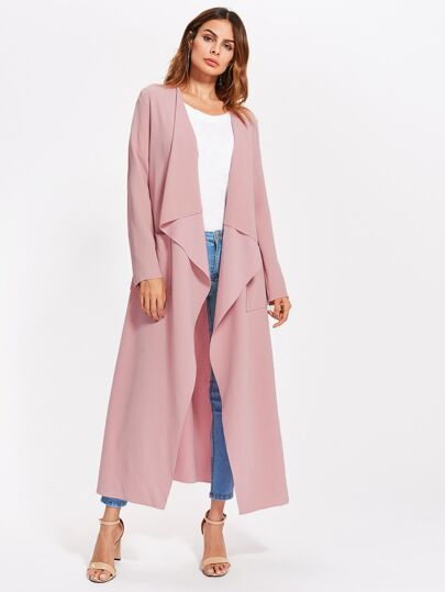 Patch Pocket Self Belted Textured Waterfall Wrap Coat