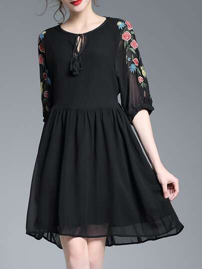 Tie Neck Flowers Embroidered Dress