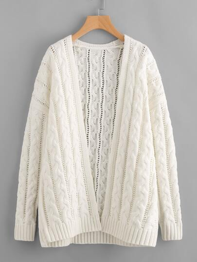 Cable Knit Hollow Out Cardigan