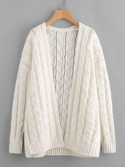 Pull-over creux en tricot à câble