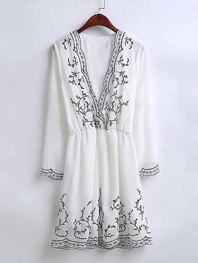 Plunging V-Neckline Embroidery Dress