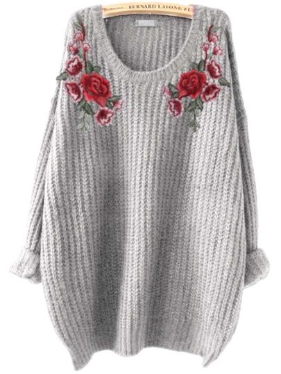 Pullover mit Stickereien und Blumen Flicken