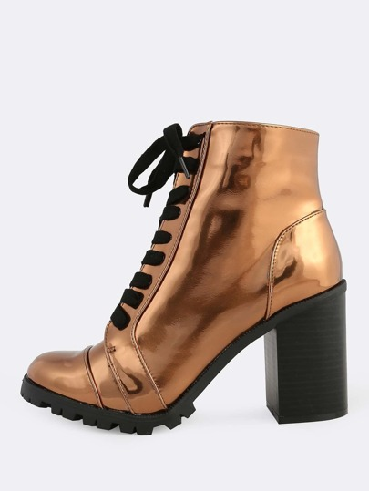 Reflective Lace Up Textured Sole Heeled Bootie BRONZE