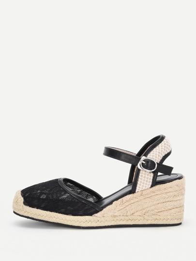 Gewebte Kappe Ziehe Sandalen mit Spitze und Keilabsatz