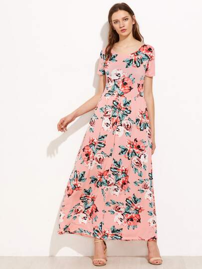 Rose Print High Rise  Full Length Dress