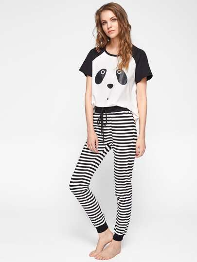 Panda Print Top And Striped Pants Pajama Set